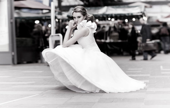 ea-length, asymmetric, satin and organza bridal gown